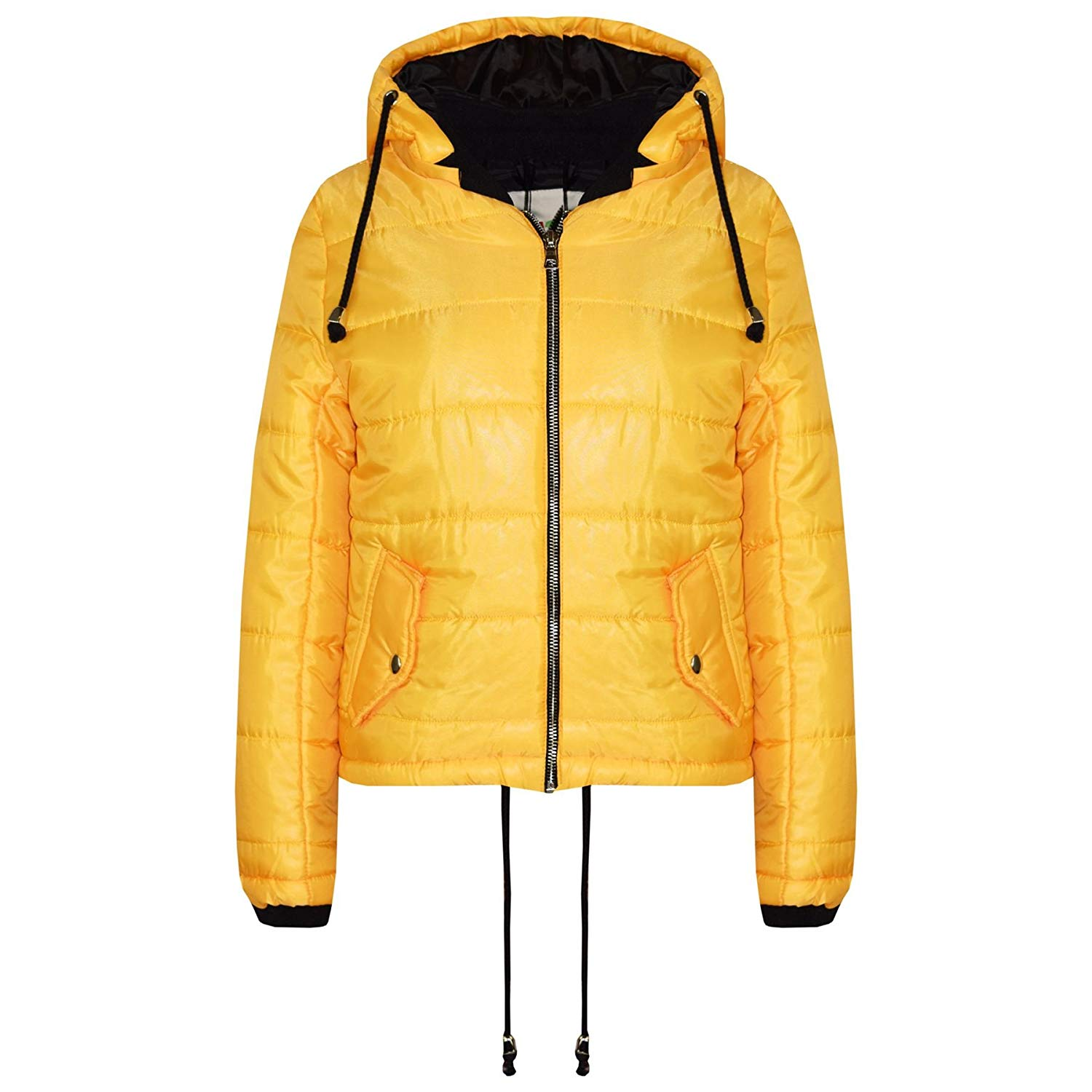 aac10a74822 Get Quotations · A2Z 4 Kids® Girls Jacket Kids Bella High Shine Mustard  Hooded Padded Quilted Puffer Jackets