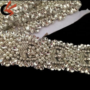 Clear Rhinestone Pearl Wedding Bridal Dress Applique Trim