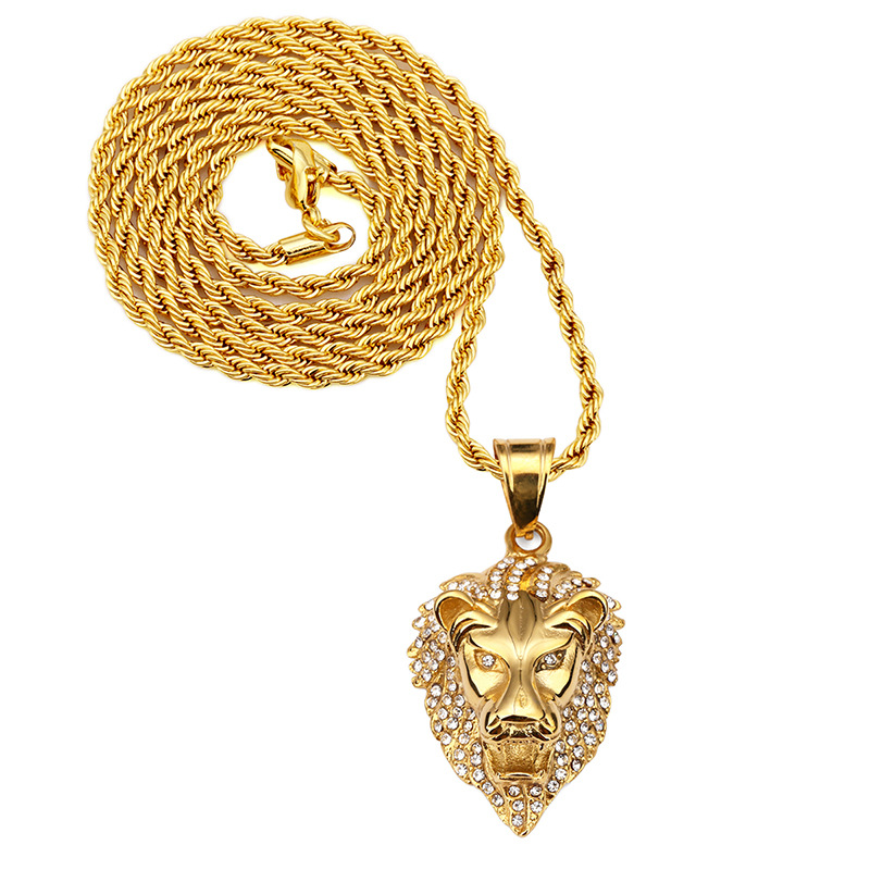 2018 Hip-pop Lion Shape Stainless Steel 18k Gold Necklace With Diamond Plating Designs Mens