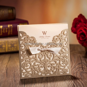 Gold Cheap Custom Wedding Laser Cut Invitations Cards 1 Card 1