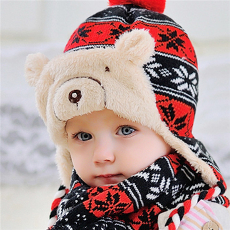 381ae8038c1 2 unids/set bebé sombrero conjunto de dibujos animados Oso Polar niños tapa  de bola
