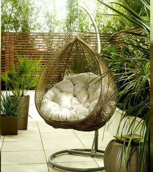 Lovely Popular Bird Nest Shaped Cozy Outdoor Garden Ratan Hanging Furniture Wicker  Patio Swing Chair