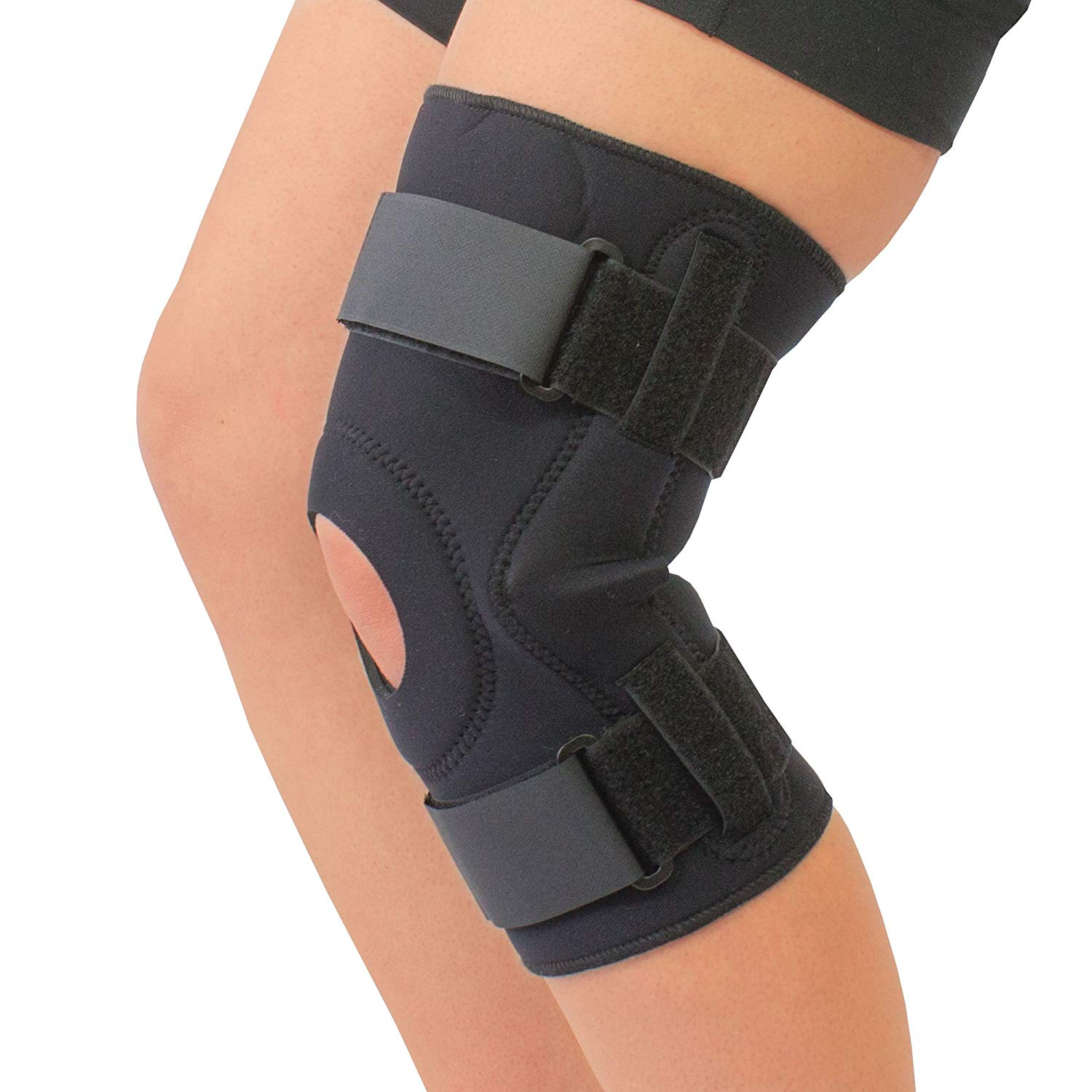 8e769f7b6d Get Quotations · Neoprene Cushioned Hyperextension Hinged Knee Brace Support  Beige and Black (X-Large, Black