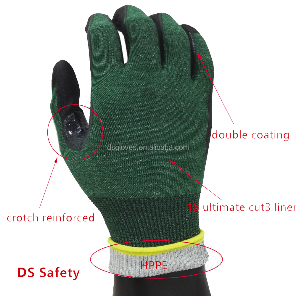 DS Safety cut resistant gloves 18G cut 3 liner micro foam nitrile coated gloves