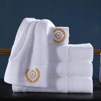 luxury 3 piece hotel 100% cotton white adult bath towel set 5 star embroidery towel with logo