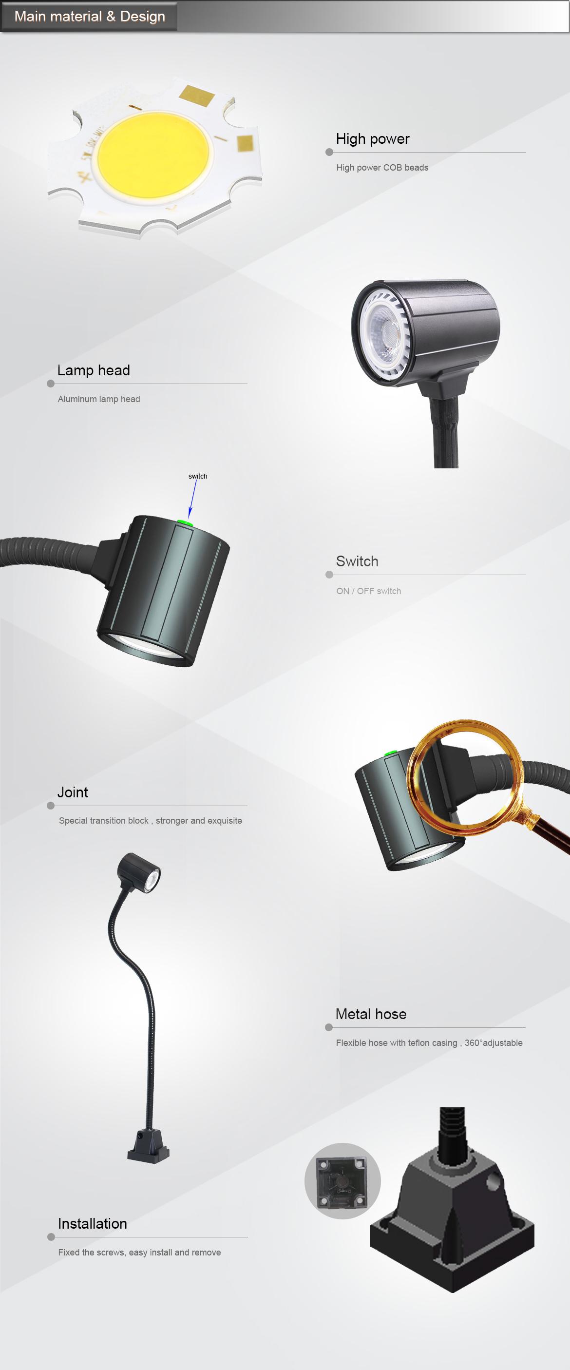 ONN-M3S 4.5 ワット Led 機械加工光グースネックライト