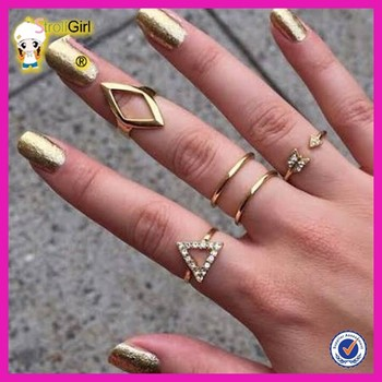 New style gold plated finger rings latest gold plated little finger thin ring design for party girls
