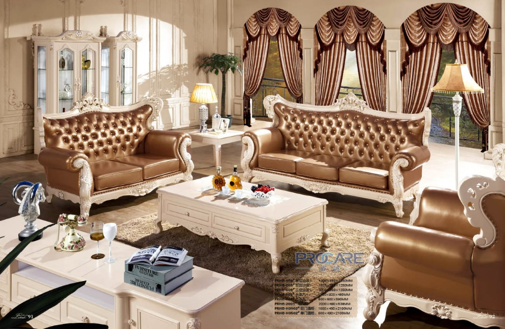 Luxury Modern Italian Style Leather Sofa Set For Living