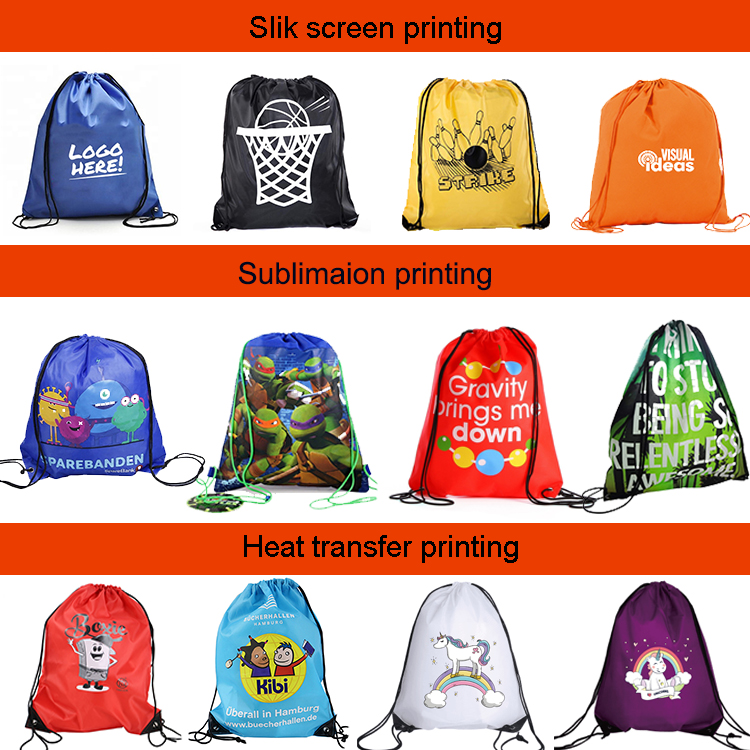 210D Polyester Nylon Waterproof Quality Drawstring Backpack Sport Drawstring Backpack