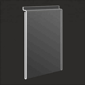 side insert hanging clear acrylic picture frame slatwall PMMA label display holder 5x7 wall mounted plastic sign holder