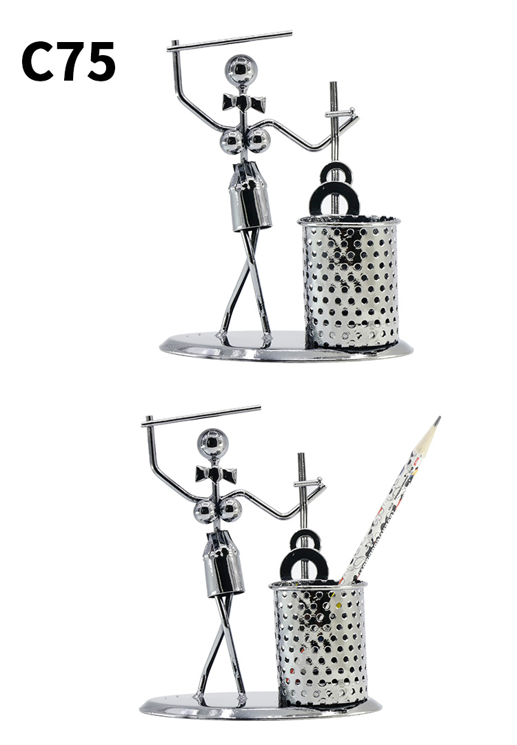 Wholesale Popular Metal Small Music Woman Pen Holder Office Home Decoration Desk Tidy Container
