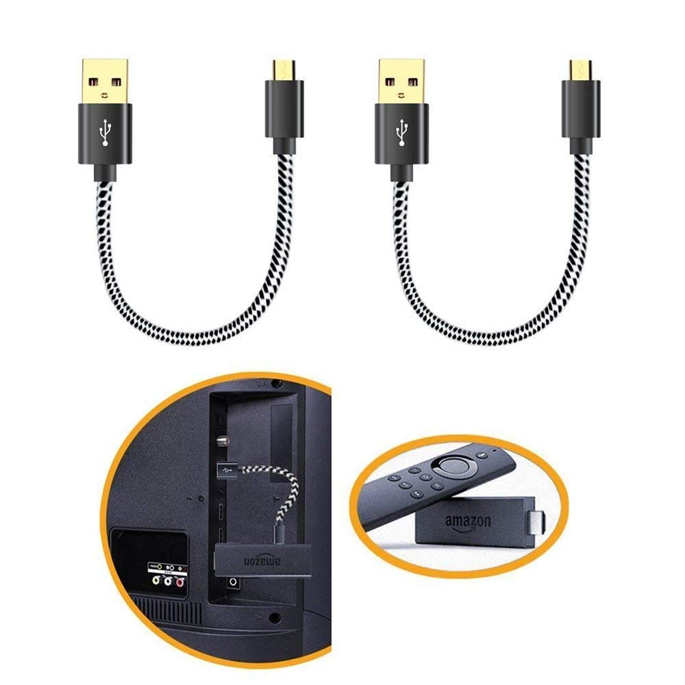 Fire TV Stick Power Cable,Power up Your Fire Stick Form Your TV's USB Port. Eliminates Need for AC Outlet. for Amazon Fire Stick, Chromecast, Roku Stick,8 in (2 Pack Straight Cable