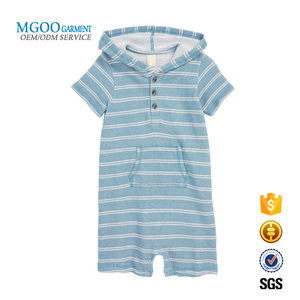 100% cotton french terry stripe hooded romper with kangaroo pocket Custom infant baby towel sleepwear