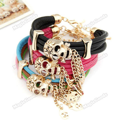 [High Quality][Brand New] Fashion Gold Plated Cortical Leather Exotic Skull Bead Multi Strands Bracelet [Hot]