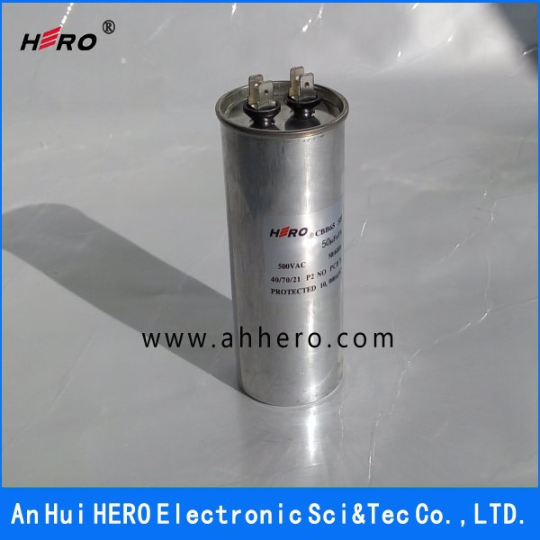 China HERO 500VAC 50uF CBB65 AC run motor compressor Capacitor for air conditioner