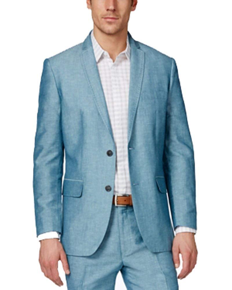 6d00e77dc5f INC International Concepts Neal Linen Regular Fit Blue Blazer Small