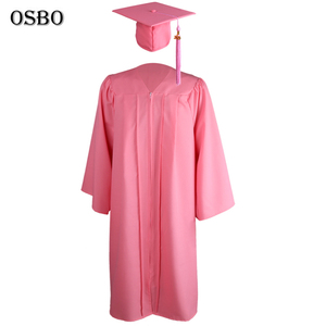 2019 Pink Wholesale Graduation Gown University Graduation Robes With Cap