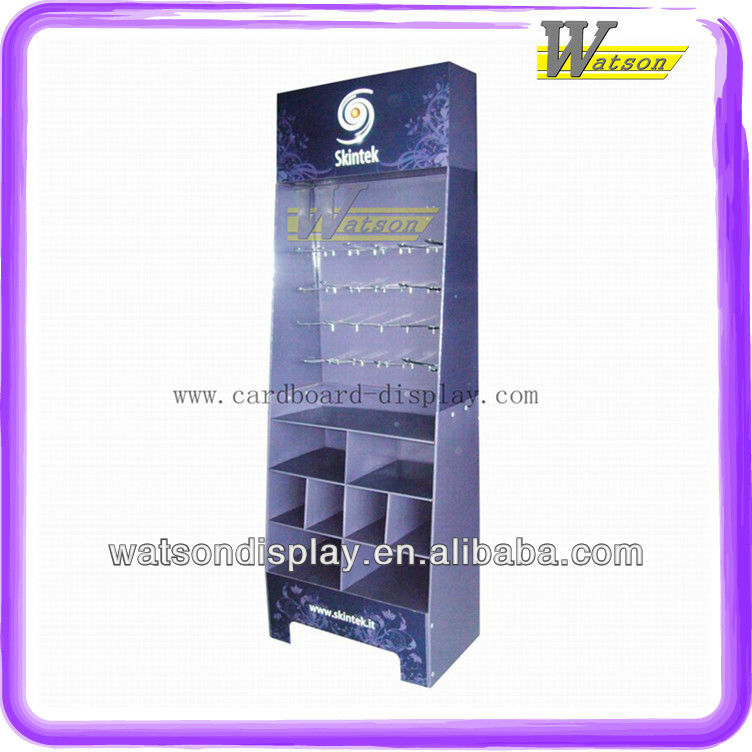 CD Cardboard compartment display shelf for promotion with metal pegs