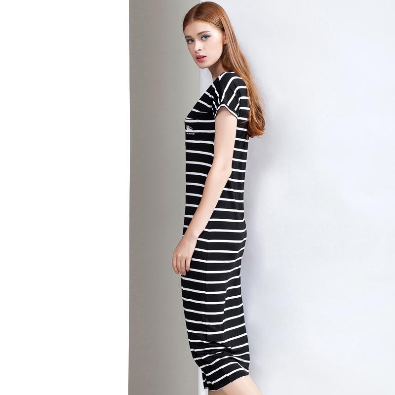 Women Striped Dress ,Casual Long Dress ,Fringe Dress,Women Strip Short Sleeve Dress 2015 Spring Summer Style Free Shipping