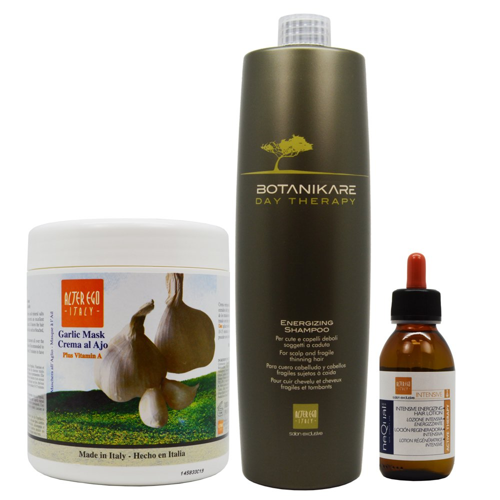 Alter Ego Impact Ego Hot Oil Treatment with Garlic 1000 ml, Energizing / Prevention Shampoo for Hair Loss & Growth 1000 ml, Nequal Intensive Energizing Hair Lotion 125 ml - 3 Set