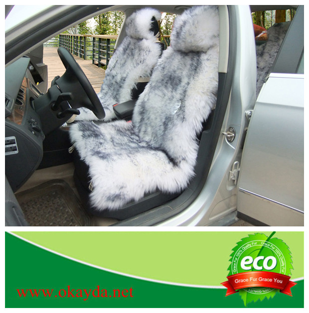sheepskin brown tip grey tip car seat cover sushion