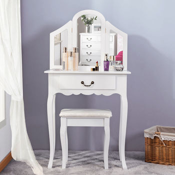 51b365dee1 White with Stool 3 Drawer Storage Baroque Style Bedroom Small Dressing Table