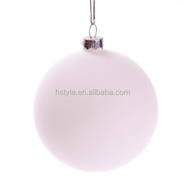 8CM Matt White Glass Ball Christmas Ornaments (100pcs/Carton) SD092