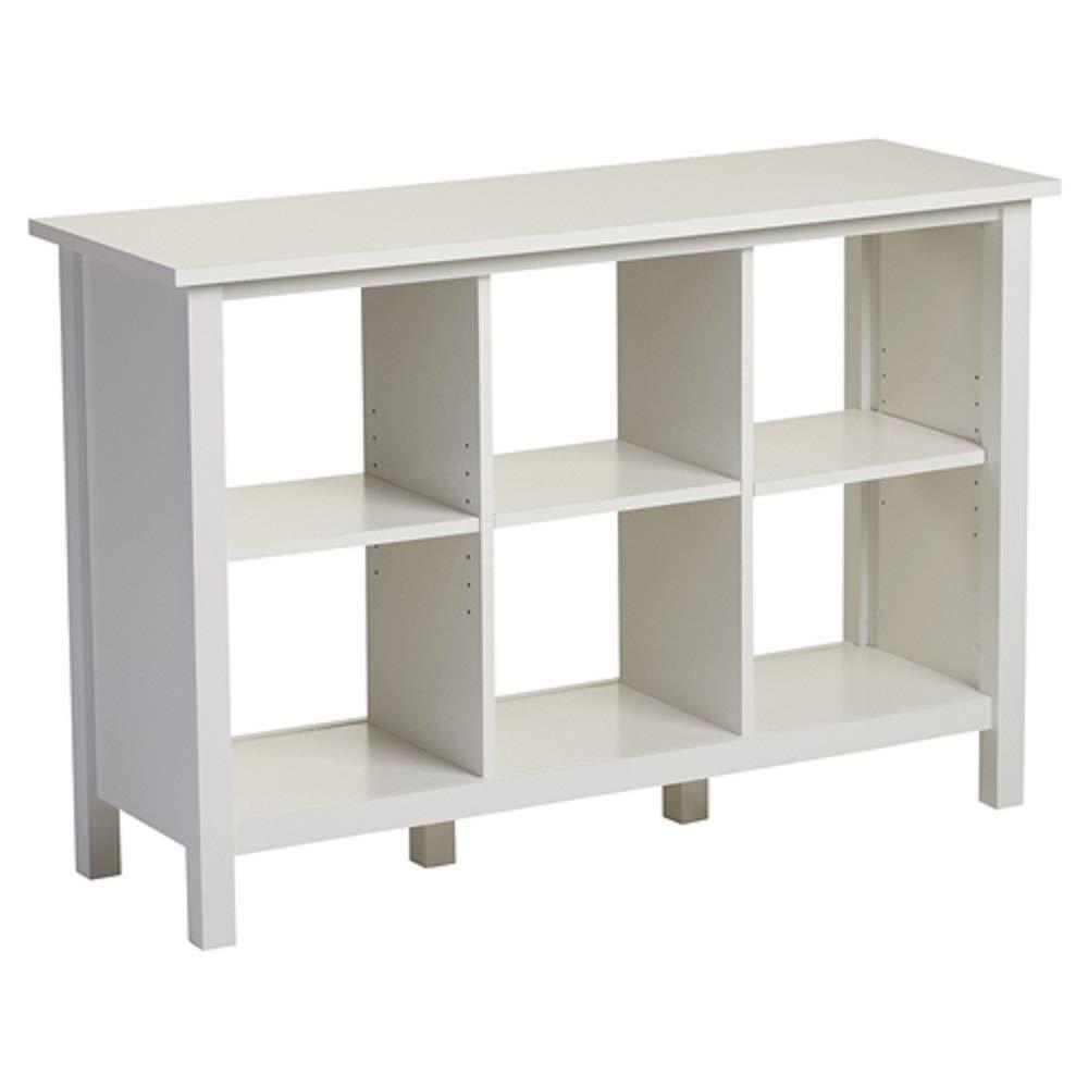 MyEasyShopping Adjustable Shelf 6-Cube Bookcase Storage Unit in White Storage Bookshelf Wood Shelves