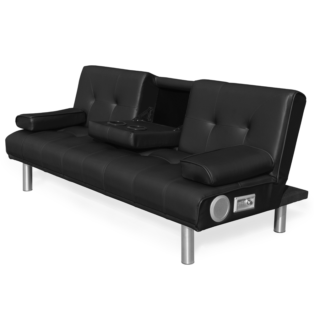 Europe Style Modern Lazy Black Leather Sofa Cum Bed With Cup Holder And  Bluetooth Speaker For Wholesale - Buy Sofa Bed,Sofa Cum Bed,Modern Leather  ...