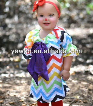 colorful chevron latest dress designs for flower baby 3 year old girl dress designs
