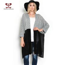 2016 Outono Mulheres Kimono Cardigan de Malha Camisa Blusa Chiffon Feminino Longo Casual Cardigans Chiffon Kimonos Plus Size XS-3XL 440