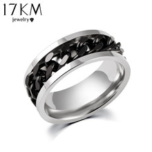 Gold & Black & Silver Stainless Steel Chain Rings for Women and Men Anel Maxi Ring Anillos Spinner Men Jewelry Lord Of The Rings