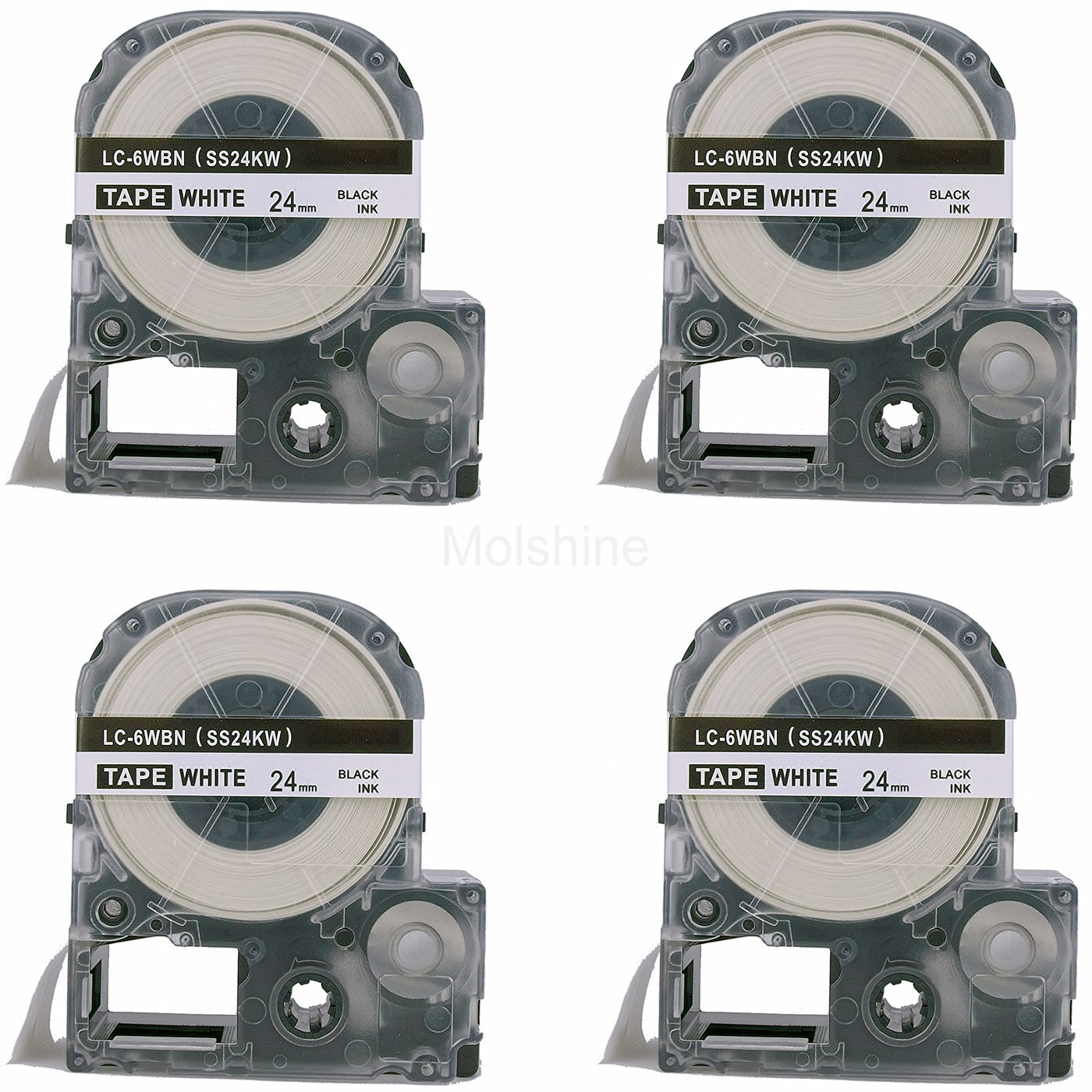 """Molshine 4 Pack LC-6WBN9 (SS24KW) Compatible Label Tape for EPSON Black on White (1/1"""" 24mm) 8m"""