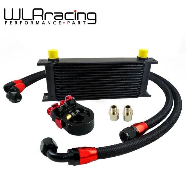 Универсальный 15 рядов траст тип масляный радиатор + AN10 масляный фильтр кулер промежуточная плита адаптер черный 2 шт. нейлоновая оплетка шлангопровод черный