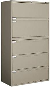 "Global 5 Drawer Lateral File 65 1/4""H X 42""W X 18""D Features Four Fixed Front Drawers - Desert Putty"