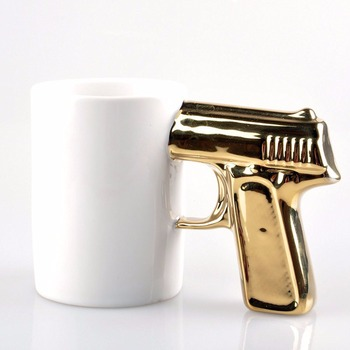 UCHOME creative ceramic gun mug gun shaped gun handle coffee mug