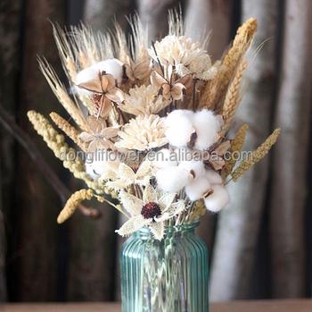 Naturel Ble Grain Coton Balle Chrysantheme Bouquet De Fleurs Pour