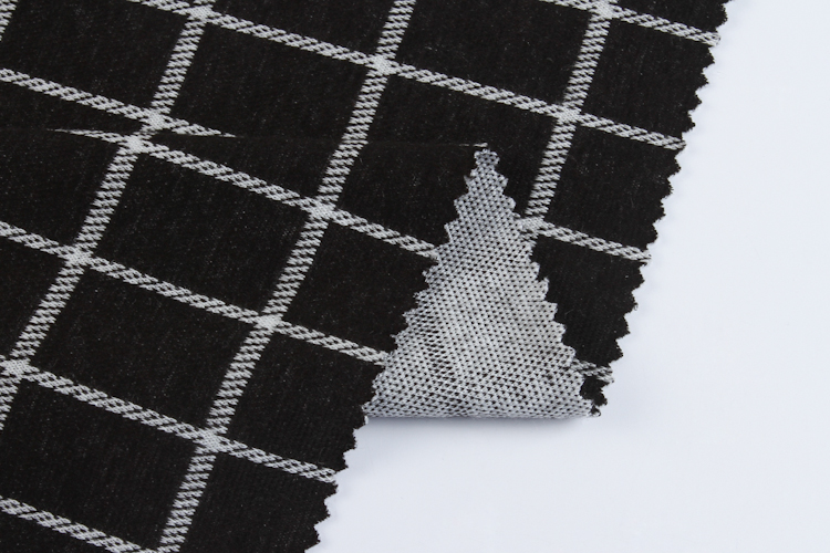 Black and white wholesale plaid custom jacquard fabric for dress stock lot