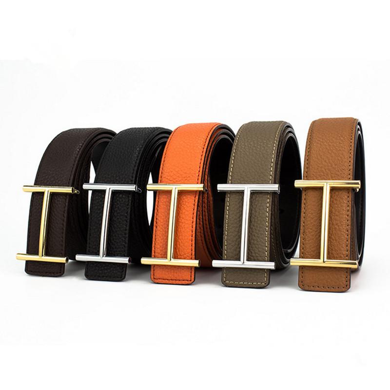 b0371da4dde High Quality Mens Leather Belts Luxury H Smooth Buckle Belts For Men ...