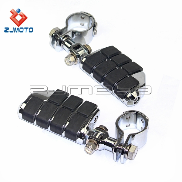 ZJMOTO Chrome Steel Motorcycle Footpeg With Clamp For Chopper Bobber Custom Bike