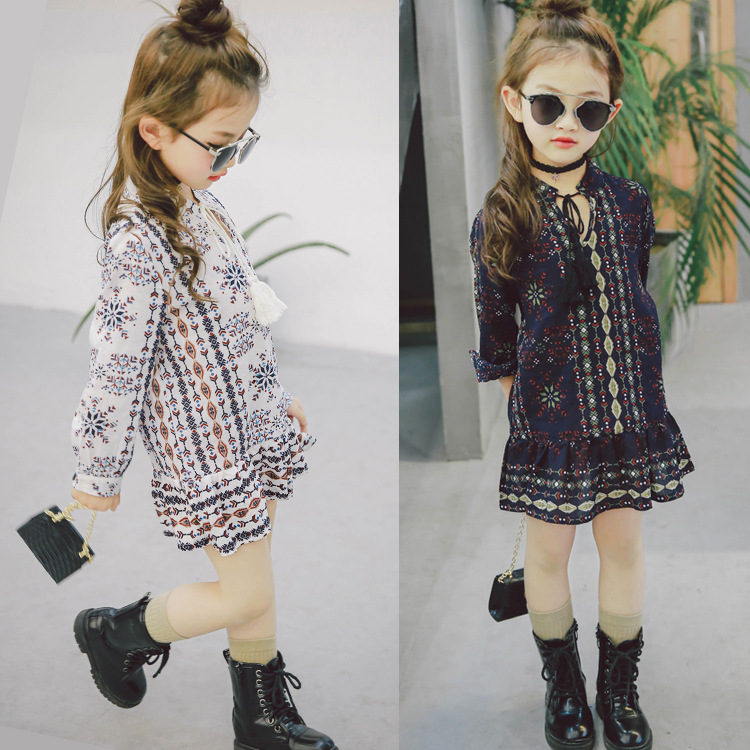 BSD1456 2017 Spring New Products Kid Girls Summer Party Long Sleeve Flower Dresses