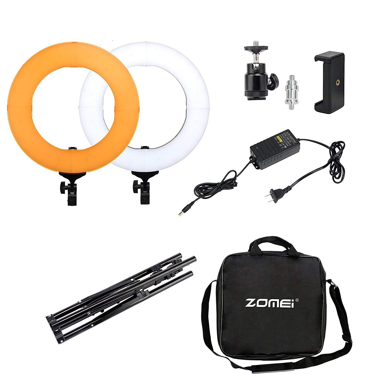 "ZOMEI 14"" Camera Photo/Video LED SMD Ring Light 5500K Dimmable Outer Pieces Ring Light with Plastic Color Filter Set and Light Stand for Photographic Lighting,YouTube Live and Makeup"