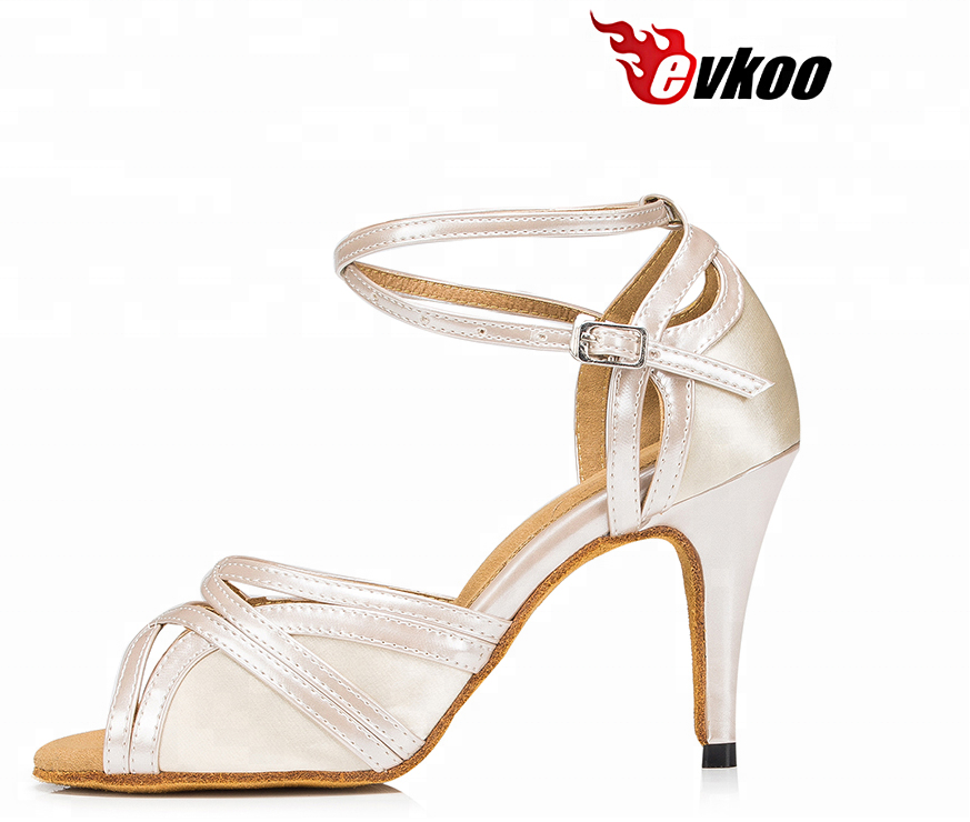 Evkoodance Brand 8.5cm heel satin material suede sole cheap Latin Tango women dance shoes with high quality Customsized shoes, Bronze/tan/brown/black