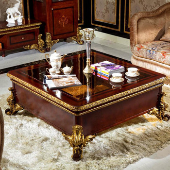 YB63 Luxury Royal Antique solid wood Coffee Tables/Baroque Style Luxury coffee table Italian gold leaf furniture