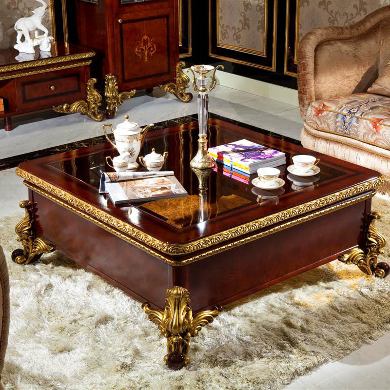 Yb63 Luxury Royal Antique Solid Wood Coffee Tables Baroque Style Table Italian Gold Leaf Furniture