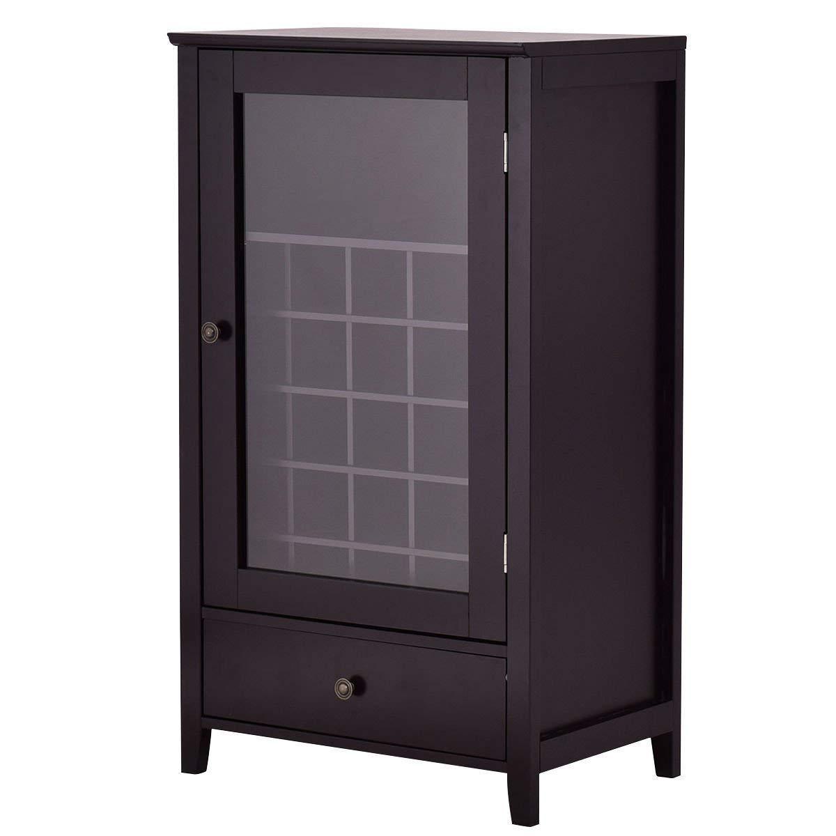 Get Quotations Wine Cabinet Storage Shelf Bottle Holder With Drawer Kitchen Home Bar Wood Brown