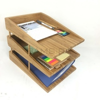 Bamboo Desk Organizers and Accessories Stackable Paper Tray