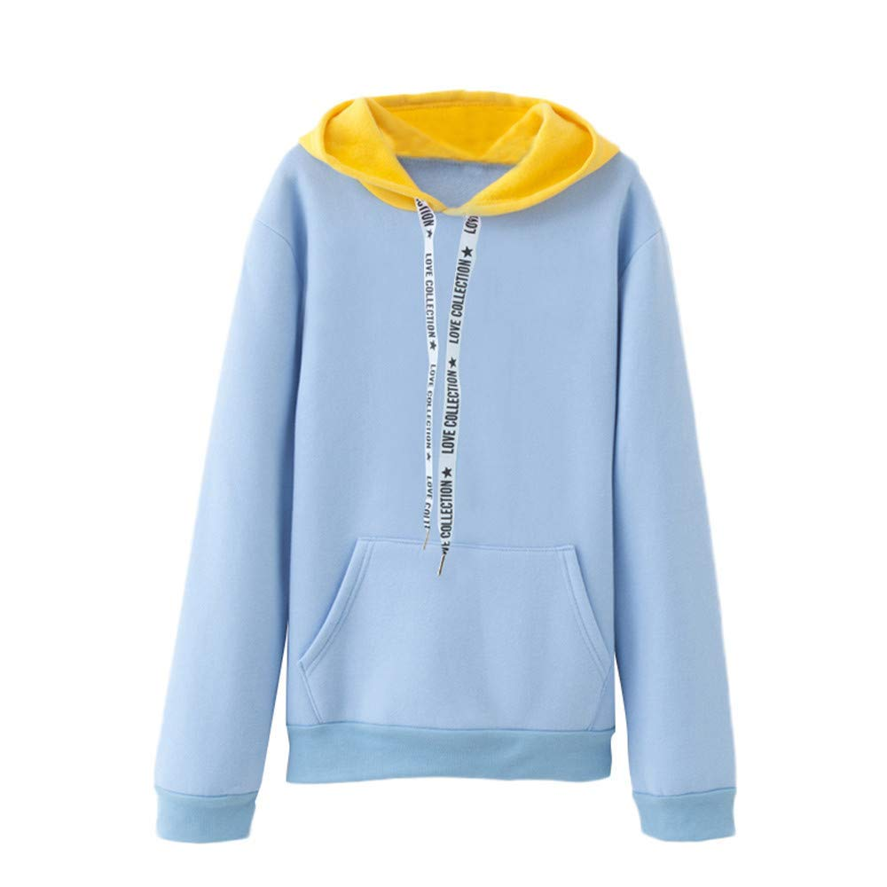 BOLUOYI Sweatshirts for Teens,Women Long Sleeve Casual Hooded Sweatshirt Pullover Top Blouse,Light Blue,XXL
