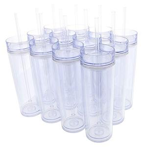 DIY Acrylic tumbler plastic Skinny Tumblers 16oz DOUBLE WALLED sippy cup with lid with straw custom logo