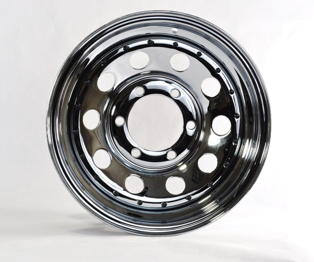 "eCustomRim Trailer Rim Wheel 15"" 15X6 6 Lug Hole Bolt Wheel Chrome Modular Design W/Rivets"